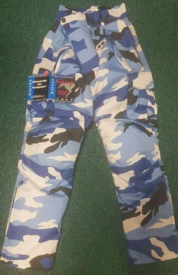 Rayven Urban Camo Blue CE armoured Motorcycle Motorbike Pants Trousers - XS